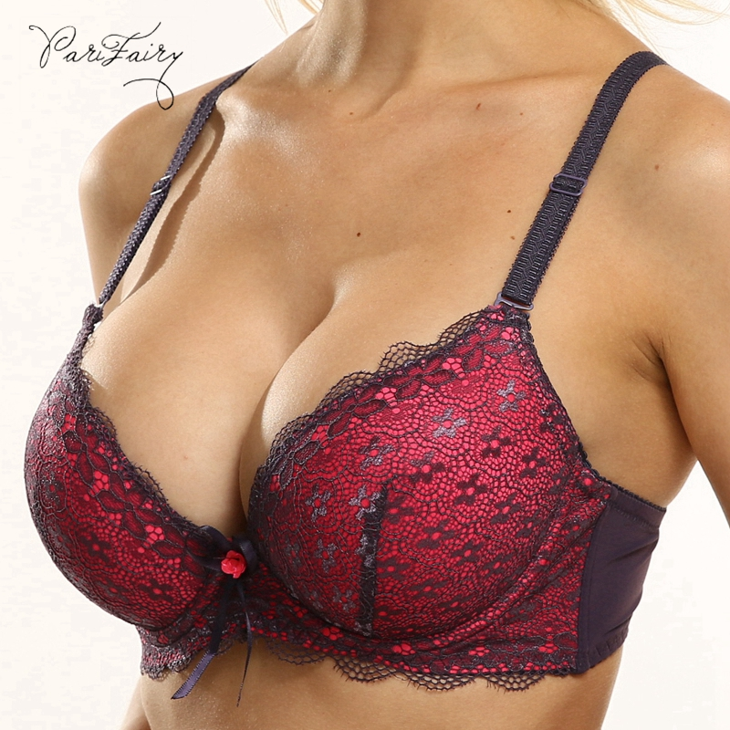 PariFairy Sexy Lace Adjusted Straps Bra Women Padded Lingerie Push Up Bras Plus Size Bra Add Two Cup Underwire Brassiere B C Cup