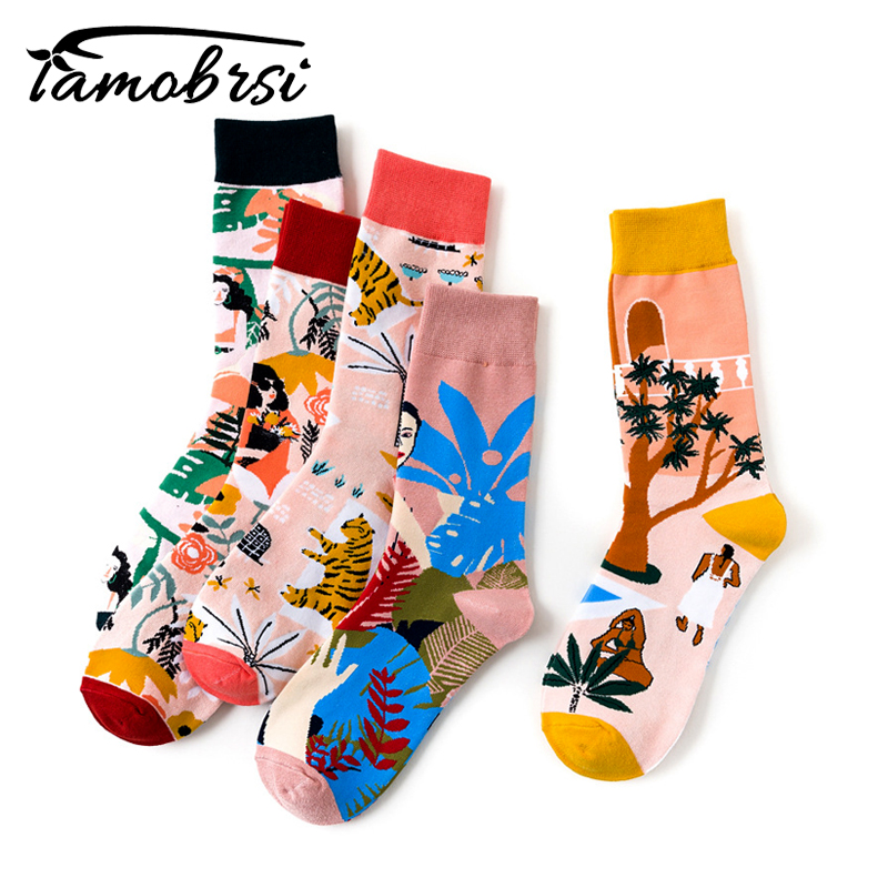 Flower Tree Bird Tiger Women Streetwear Short Creative Cute Men Sock Warm Funny Short Kawaii Winter Cotton Happy Ankle Socks