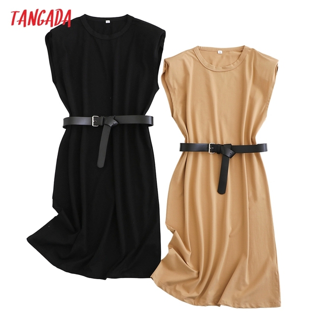 Tangada 2021 Women Elegant Shoulder Pads Knee Cotton Dress Summer Oversized Sleeveless Ladies Solid Dress 6L53 3