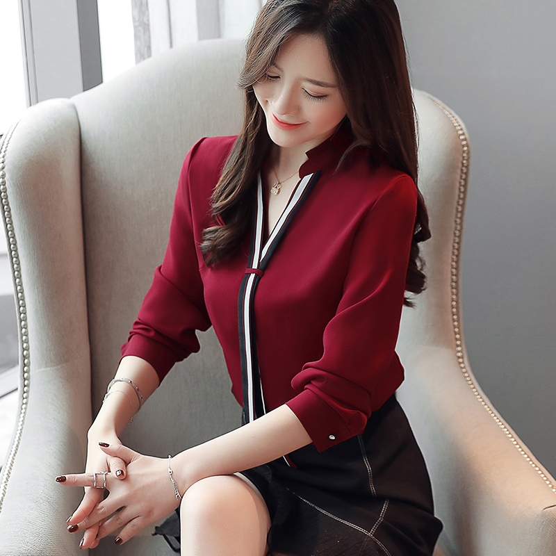 New Stand Collar Pullover Blouse Women Tops Chiffon Office Lady Long Sleeve White Red Women's Blouse Shirt Blusas Mujer 6469 50 3