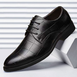 Mazefeng Men Leather Formal Shoes Lace Up dress shoes Oxfords Fashion Retro Shoes Elegant work Footwear Business Plus Size 38-48