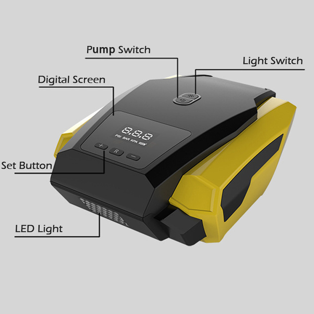 Compresseur dair Portable avec affichage numérique LED pour voiture, pompe à Air, gonfleur rapide, pour pneus dautomobile, Mini, électrique, 12V