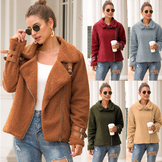 Dorywczo mody Faux patchwork miękki płaszcz skórzany kobiety jesień krótki ciepły płaszcz żakiet kobiet puszyste teddy płaszcz zimowy znosić