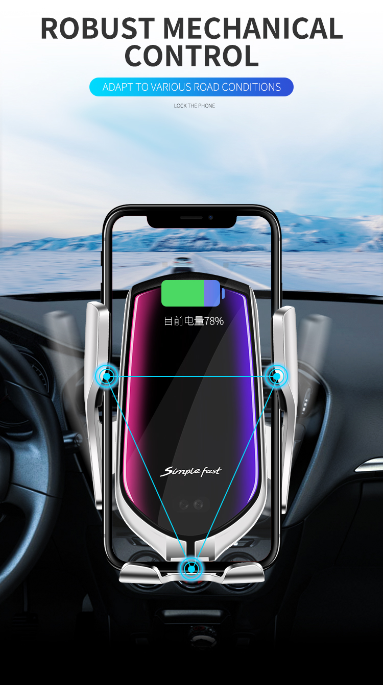 Automatic Clamping 10W Car Wireless  Charger Phone Holder Wireless Charging Car Air Vent Dashboard Phone Holder