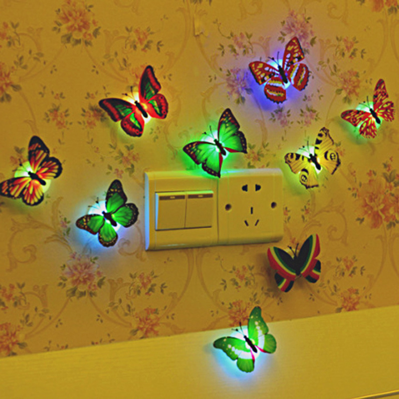 LED Glowing Butterfly Toy Kids Room 3D Glow In Dark Butterfly Night Light House Art Wall Stickers Decoration Party Toys Children
