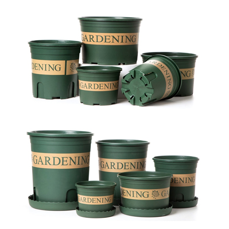 Flower Pots Chunky Root-Controlled Potted Round Rose Black Planting Seedling Thickening Flower Plastic Gallon Pot Bottom Plate