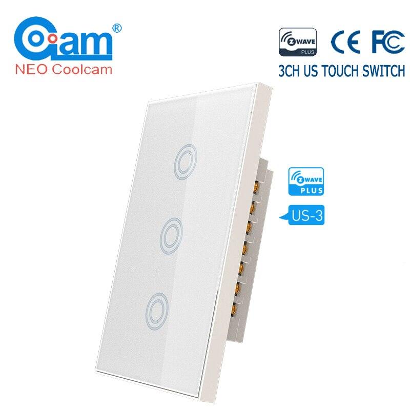 Néo COOLCAM 3CH z-wave Plus US interrupteur tactile mural 3 Gang panneau de commutateur de lumière intelligente US 908.4MHZ télécommande domotique