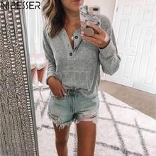 NIBESSER, осень, новинка, женские топы, одноцветные, на пуговицах, v-образный вырез, вязаные свитера, длинный рукав, Повседневный, хлопок, трикотаж, пуловер, женская рубашка
