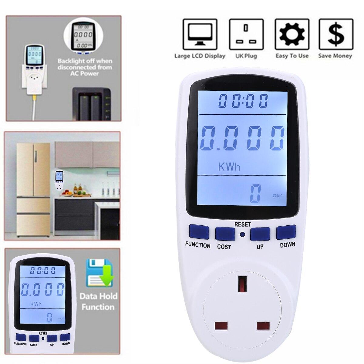 Uk plug-in consumo de eletricidade medidor de energia energia watt instrumentos de análise elétrica medidores de energia
