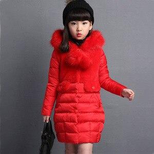 Image 4 - OLEKID 2020 가을 겨울 파카 소녀를위한 따뜻한 롱 모피 걸스 겨울 자켓 4 13 년 십대 겉옷 어린이 Snowsuit
