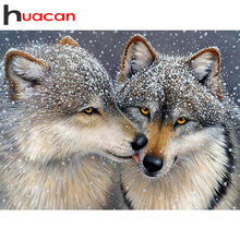 Huacan diamante bordado lobos pintura diamante lobo quadrado completo ponto cruz animal 5d diy strass mosaico beadwork