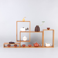 Estilo japonês de Bambu Antigo Prateleira Casa Zen Pequenos Ornamentos Muito Bao Ge Cerimônia do Chá Jogo de Chá Xícara de Chá de Madeira Maciça caixa de Armazenamento de exibição|Bandejas de chá| |  -