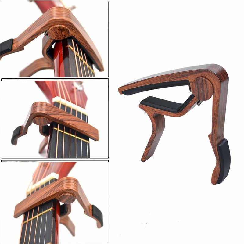 Capo de guitare en métal à Grain de bois avec coussin en silicone parfait pour guitare ukulélé Tuning accessoires d'instruments de musique pince de guitare