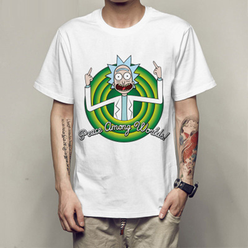New Men's T-shirt Crewneck Loose Rick And Morty Printed  T Shirt Casual Mens Tshirt Tops Free Shiping