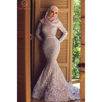 Pink/Blue Mermaid Muslim Evening Dresses Long Sleeves Appliques Lace Formal Party Women Elegant Dubai Saudi Arabic Gowns