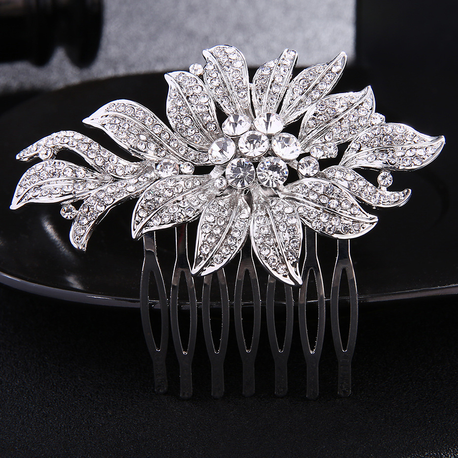 Luxury Crystal Hair Combs Bride Headwear Wedding Women Hair Accessories Rhinestone Alloy Flower Hair Comb Hair Pins