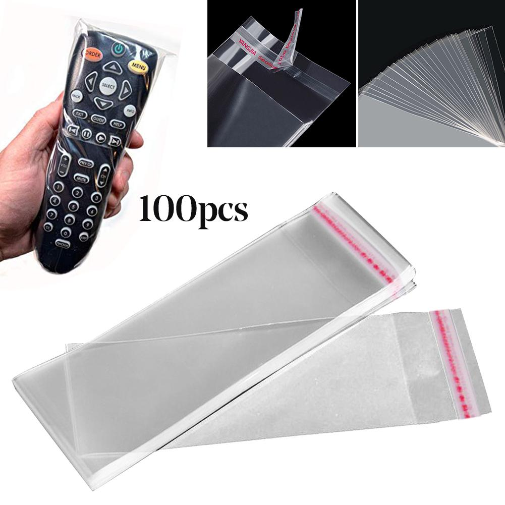 100Pcs Home Hotel TV Air Condition Remote Control Cover Protection Bag From Germ Self-adhesiv Plastic Transparent Protective Bag