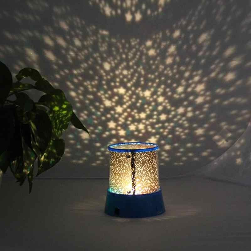 גלקסי ירח כוכב מקרן רומנטי LED ליל הכוכבים שמיים מקרן מנורת ילדים מתנת כוכב אור קוסמוס לבית מסיבת זהב סגול