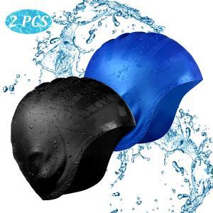 Шапочка для плавания, 2 упаковки, силиконовая Нескользящая шапочка для плавания с длинными волосами, унисекс, шапочка для бассейна с защитой...