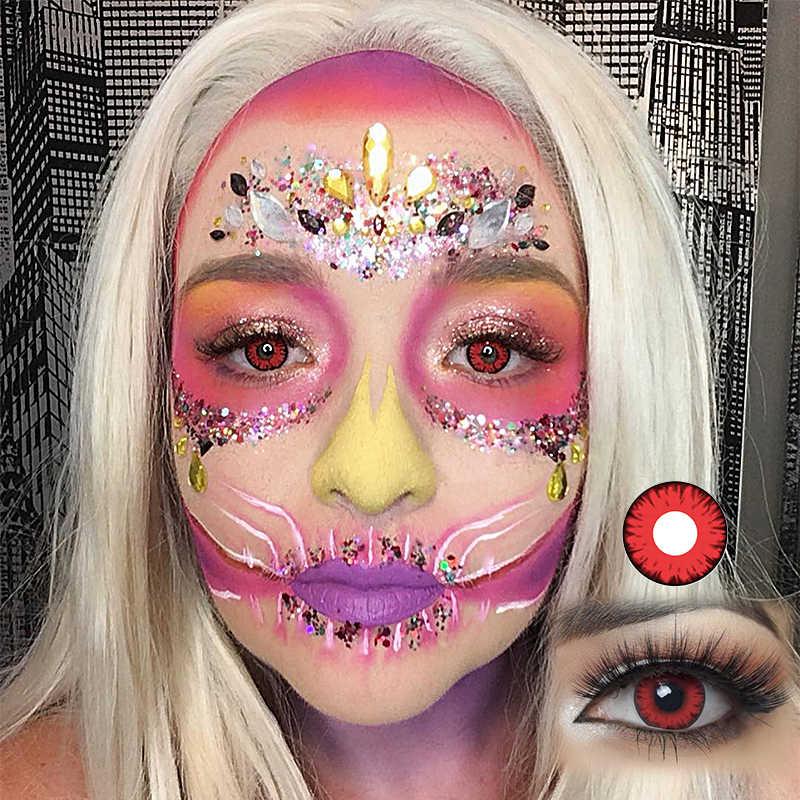2 sztuk/para Cosplay soczewki kontaktowe dla oczu Halloween zmierzch kosmetyczne renderowanie kolorowe szkła kontaktowe soczewki