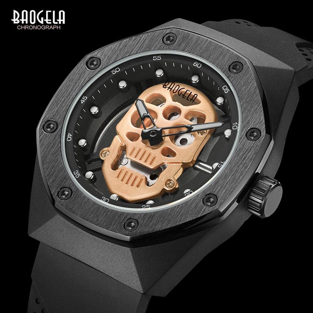 BAOGELA Skeleton Watches Men Luxury Top Brand Waterproof Wristwatch Skull Dial Military Sports Watch Man Relogios Masculino 1902