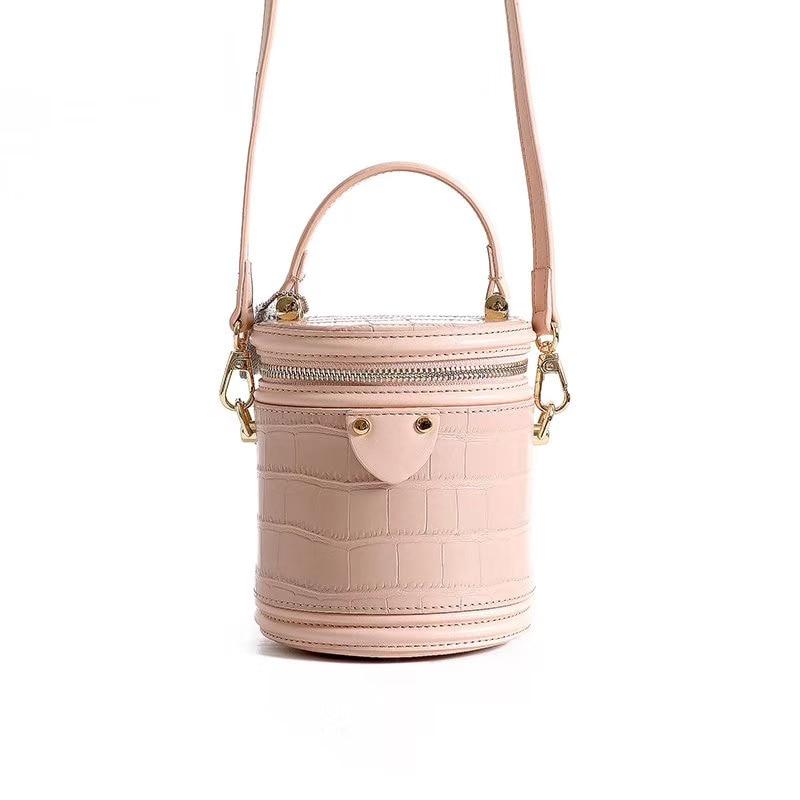 Fashion Ladies Genuine Leather Bucket Shoulder Bag Crocodile Pattern Vintage Bucket Handbag Designer Zipper Bucket Crossbody Bag