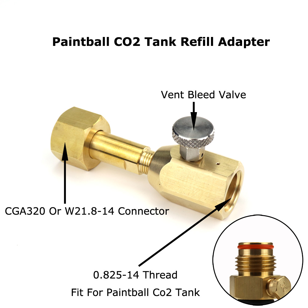 NEW Paintball CO2 Tank Refill Adaptor With Bleed Valve Fit W21.8-14(DIN 477) Or CGA320 Connector