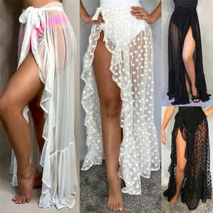 Sexy Women Mesh Sheer Beach Bikini Cover Ups Vacation Sunscreen Wrap Skirt 2020 New RufflesDot High Waist Split Bikini Cover Up
