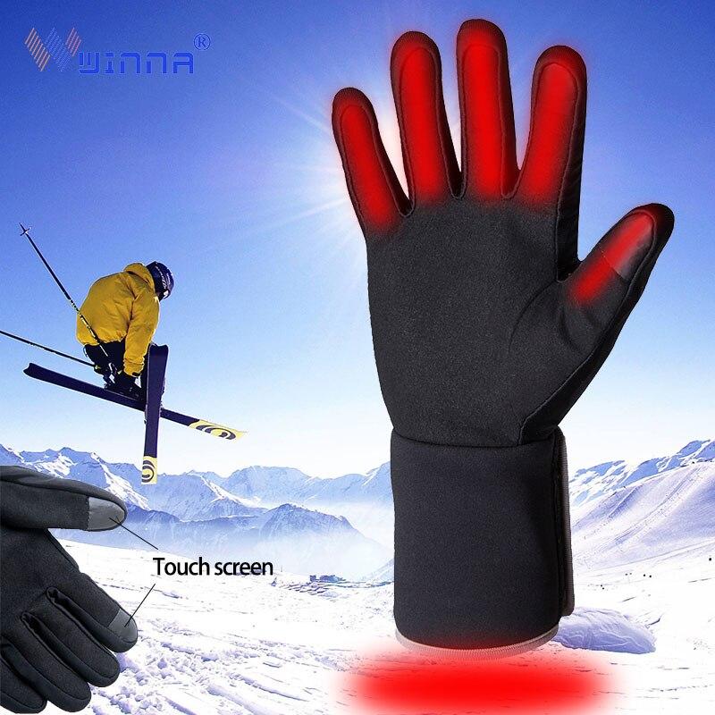 Inverno quente luvas aquecidas para mulheres dos homens ao ar livre esqui ciclismo caminhadas luvas de aquecimento elétrico tela sensível ao toque couro luvas de veludo