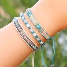 3pcs Bohemian Handwoven Beads Wax Line Friendship String Bracelet for Women Macrame Beach Jewelry Crystal As Female
