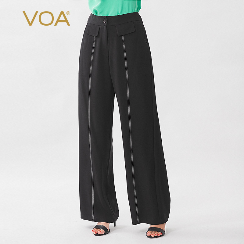 VOA Silk 36mm Black Heavy Weight Technology Pasted Fabric Oblique Insertion Bag Micro Elastic Tibetan Meat Wide Leg Pants K1219