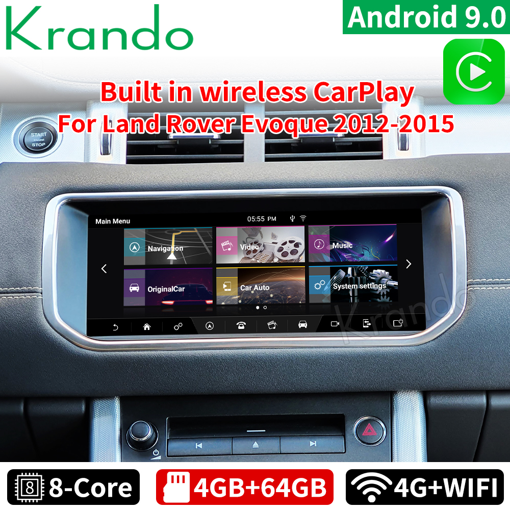 Автомобильный радиоплеер Krando 10,25 дюйма, Android 9,0, 4 ГБ, 64 ГБ, для Land Rover Range Rover Evoque LRX L538 2012-2019 Harman Bosch, хост Carplay