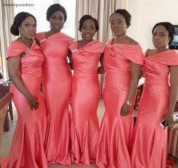 Южно-Африканский нигерийский платье подружки невесты фуксия Русалка сад страна Формальные пригласительные на свадьбу фрейлины плюс