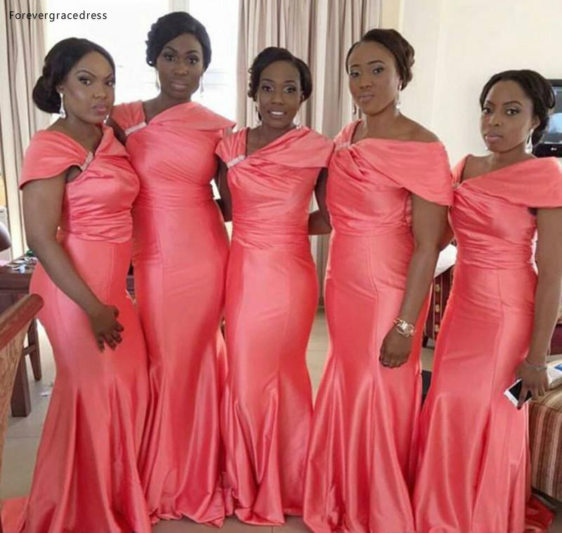 South African Nigeria Bridesmaid Dress Fuchsia Mermaid Garden Country Formal Wedding Party Guest Maid Of Honor Gown Plus Size