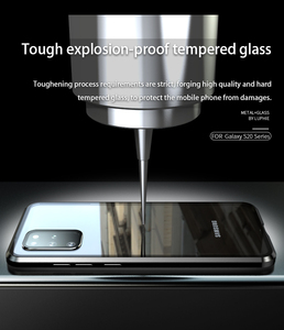 Image 4 - Luxury Magnetic Adsorption Back Cover for Samsung Galaxy S20 Ultra S20 Plus Tempered Glass Built in Magnet Metal Bumper Case