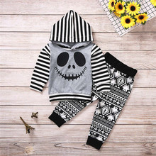 Get more info on the 2019 Fashion Toddler Baby Boy Clothes Fall Winter Halloween Cartoon Skull&Striped Hoodie Tops+Geometry Pants Outfits Set