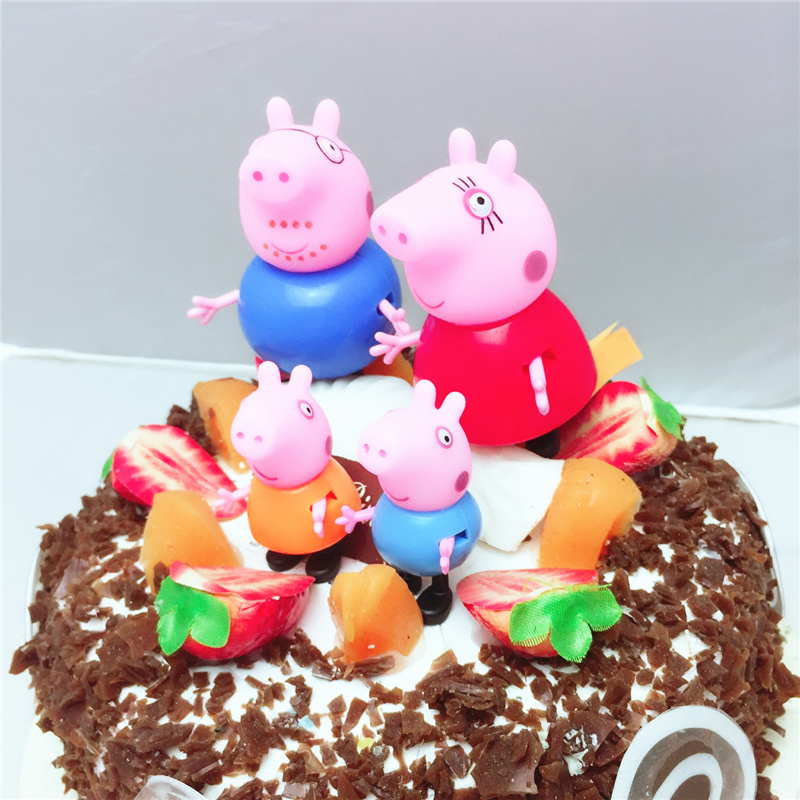 Peppa Pig Birthday Party Decoration Set Anime Figure Cupcake Toppers Party Decoration Supplies Flags Hat Spoon Acticity Event