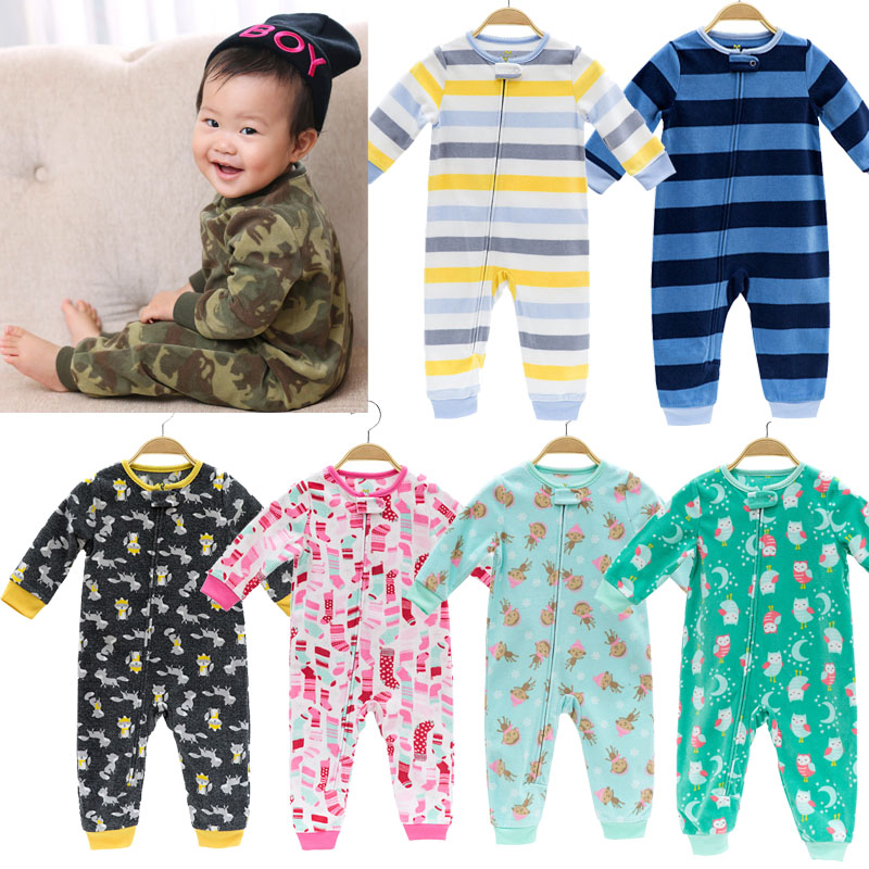 2019 baby clothing Infant girls clothes fleece bebes boys outwear pajamas zipper baby girls overalls pajamas jumpsuit   romper