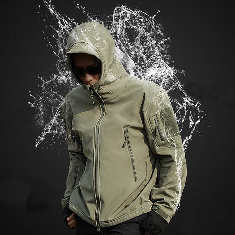 Скрытень Акула кожа мягкая оболочка V5 Военная тактическая куртка мужская водонепроницаемая ветрозащитная мягкая оболочка ветровка камуфляжные армейские пальто