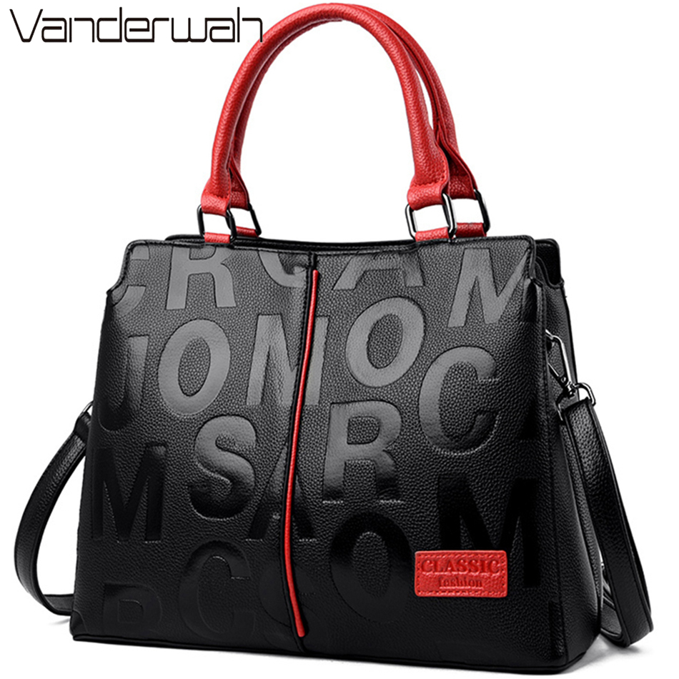 Ladies Quality Leather Letter Shoulder Bags for Women 2021 Luxury Handbags Women Bags Designer Fashion Large Capacity Tote Bag 6