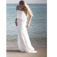 JIERUIZE White Lace Mermaid Beach Wedding Dresses Ruffles Boho Wedding Gowns Bride Dress robe de soiree