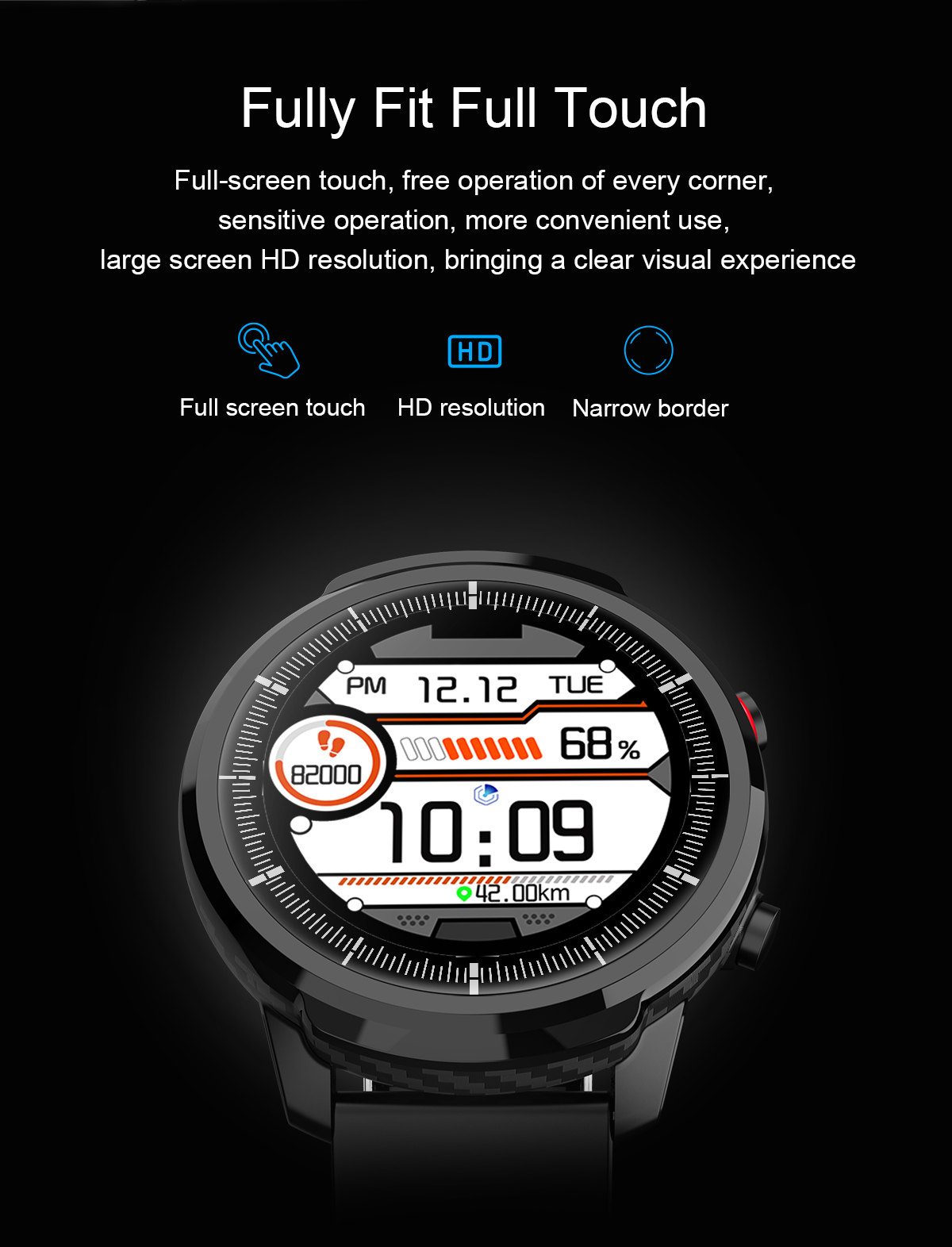 Smart watch fitness S10 touch full, water resistant, heart rate monitor for Android IOS Screen