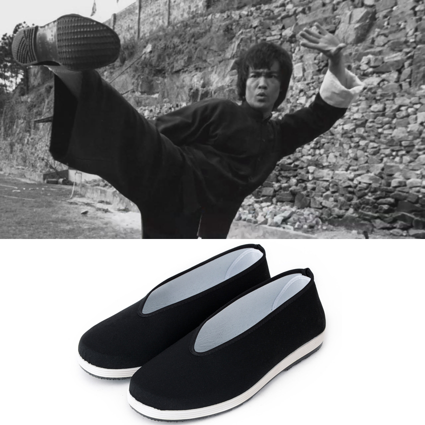 Man Black Chinese Traditional Cotton Flats Shoes For Man Bruce Lee Cosplay Kung Fu Uniform Wushu Tang Suit Taichi Performance