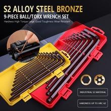 цена на 9pcs  Hex Key set Hexagon wrench Key-Wrench ball head L-type wrench round head, plum head,1.5mm-10mm