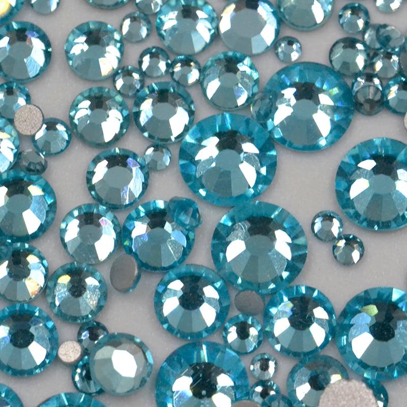 SS3 SS30 Mix Size Rhinestones Crystal Aquamarine Non HotFix Glass Strass Nail Art Decorations Rhinestone Applique in Rhinestones from Home Garden
