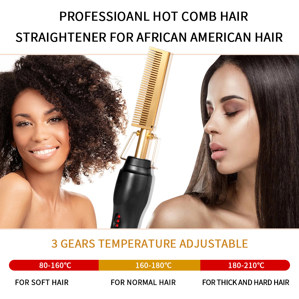 2 in 1 Hot Comb Straightener  Electric Hair Straightener Hair Curler Wet Dry Use Hair Flat Irons Hot Heating Comb For Hair 5