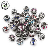 50 pces rondelle grande buraco grânulos liga strass contas europeias para joias pulseira que faz diy cor misturada 11x10mm buraco: 5mm