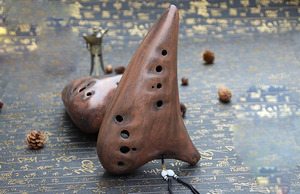 Grand son 12 trous BC brûlé fumé basse C Ocarina flûte instrument de musique(China)
