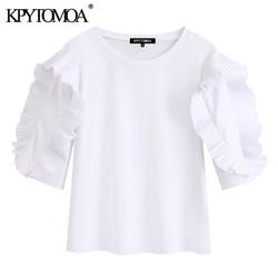 Женские блузки с круглым вырезом KPYTOMOA, белые винтажные блузки с рюшами и коротким рукавом, модель 2020