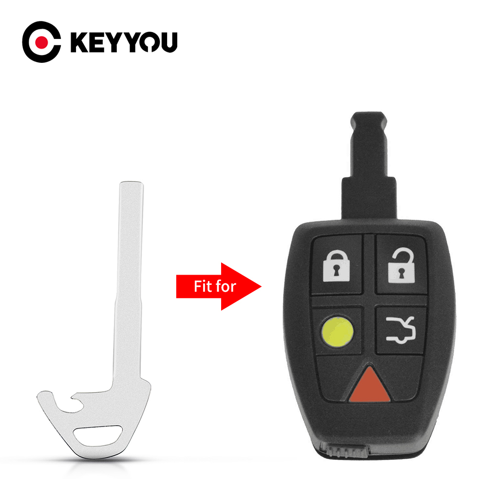 KEYYOU Replacement Emergency Insert Key Blade Remote Key Blank Shell Fob For Jaguar X S-Type XF XK XK For Volvo XC60 S80 S60 S40